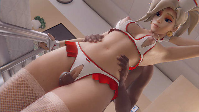 Nurse underwear Mercy thighjob interacial